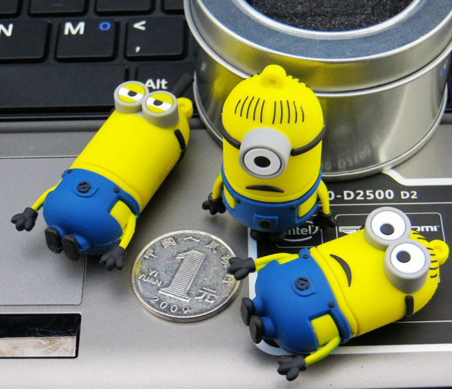 Cartoon Minions Usb Flash Drive 16GB Silicone USB Stick 32GB Pen Drive 64GB 8GB Cheap Pendrive Flash Drive 128GB Memoria USB