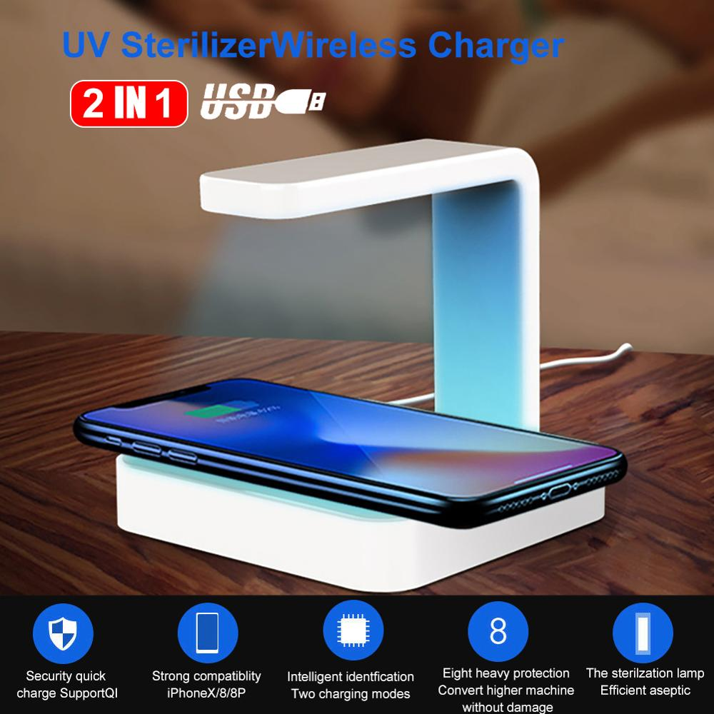 Two-in-one Wireless Charger Portable UV Sterilizer Box Aroma Mobile Phone Cleaner Ultraviolet Disinfection UV Sterilizer