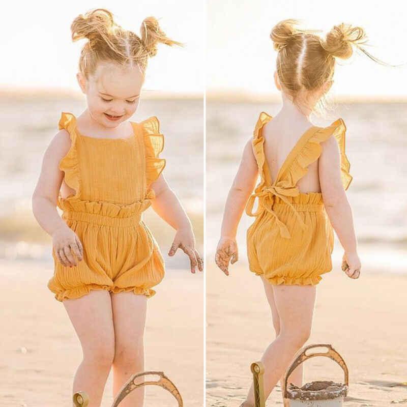 Pasgeboren Baby Baby Girl Kids Kleding Ruche Zomer Romper Jumpsuit Outfits