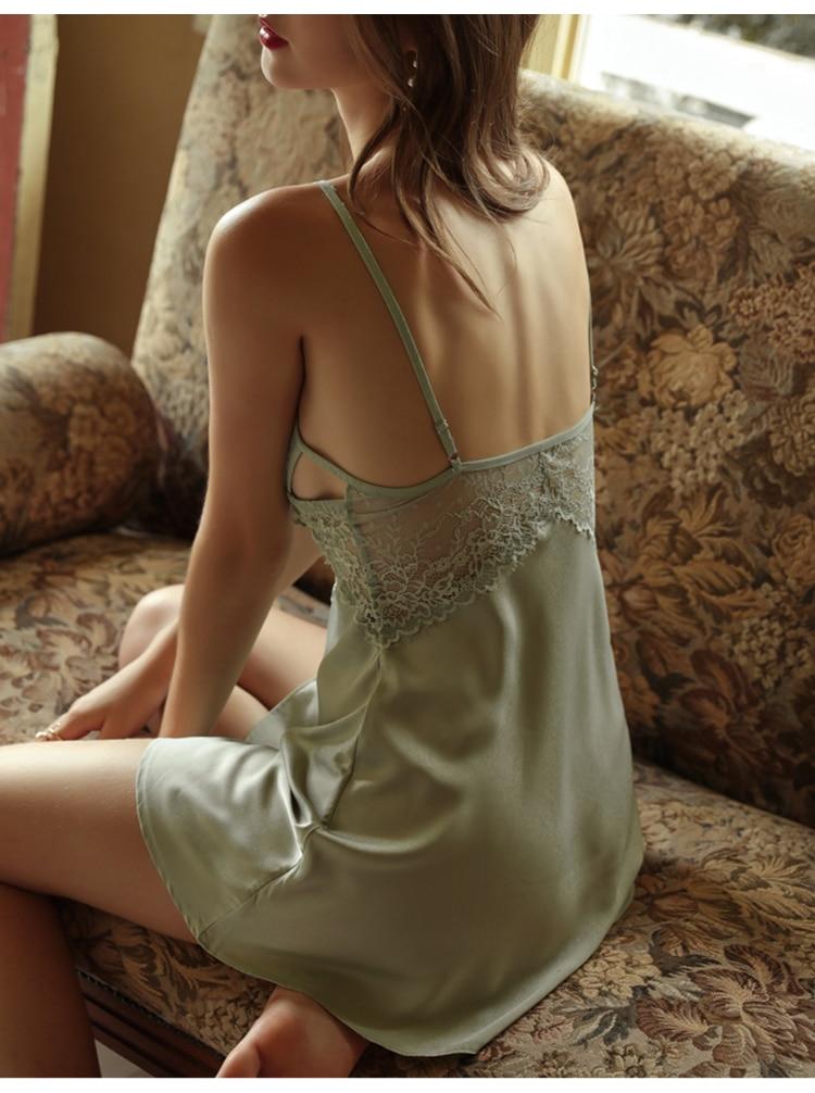 CINOON New Women Sexy Lace Nightwear Set Thin Silk Sling Sleepwear V-neck Cross Trim Nightdress And Panty Satin Soft Homewear (7)