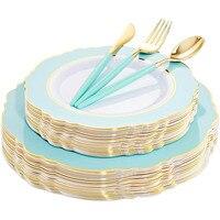 50Pcs Einweg Party Geschirr Set Barock Grün Rosa Gold Rim Kunststoff Tablett Mit Silber Utensilien Geeignet für Hochzeit Party