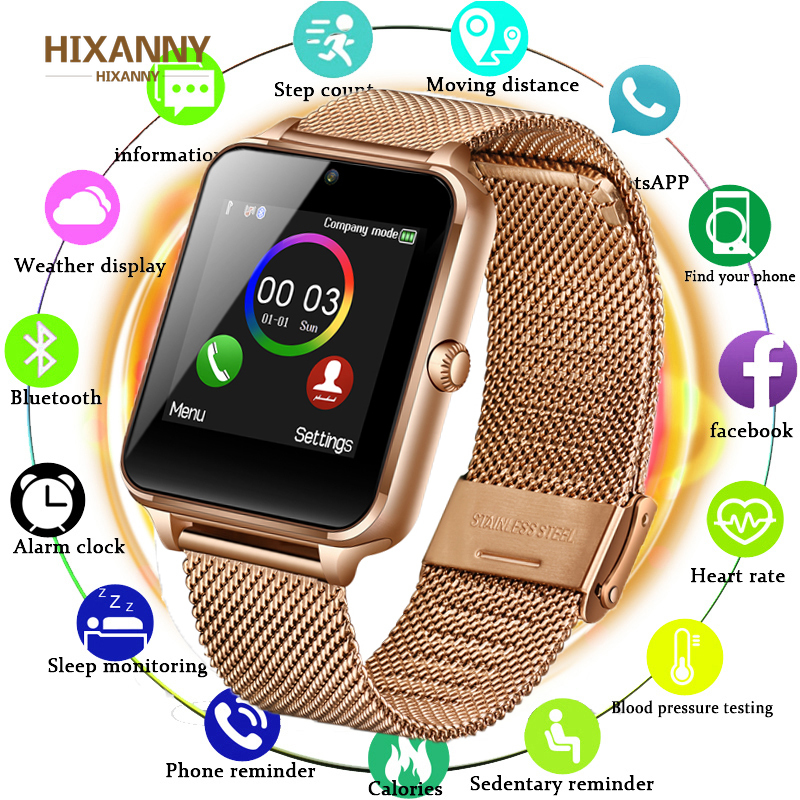 Bluetooth GT08 Plus Metal Strap Smart Watch Z60 Bluetooth Wrist Smartwatch Support Sim TF Card Android&IOS Watch PK Q9