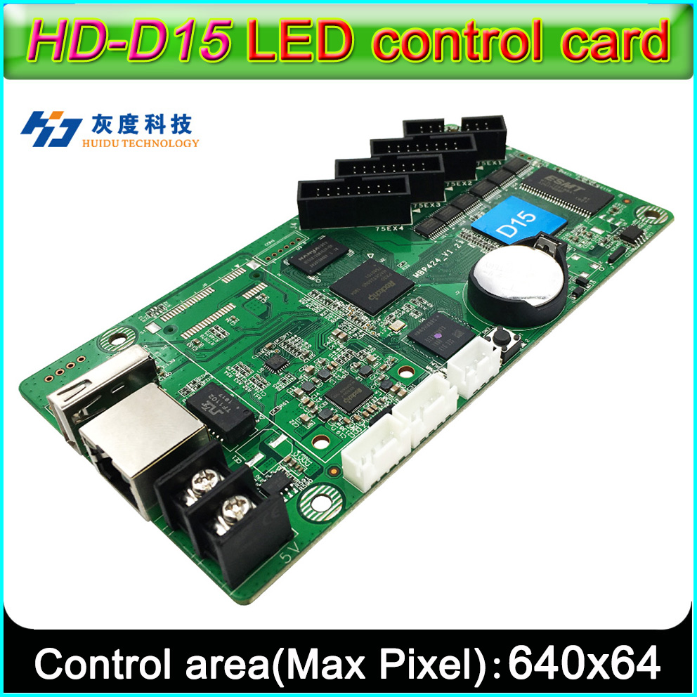 NEW HD-D15 Full-color LED Sign Controller,  Support Network RJ45, U-disk Communication, Strip-type Video Screen Controller