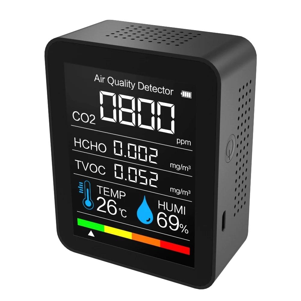 Монитор качества воздуха 5 в 1 измеритель CO2 цифровой датчик температуры и влажности тестер углекислого газа TVOC формальдегида HCHO детектор