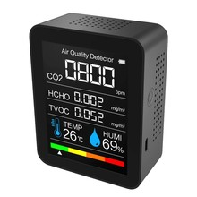 Monitor de qualidade do ar 5 in1 medidor co2 digital sensor umidade temperatura tester dióxido carbono tvoc formaldeído hcho detector