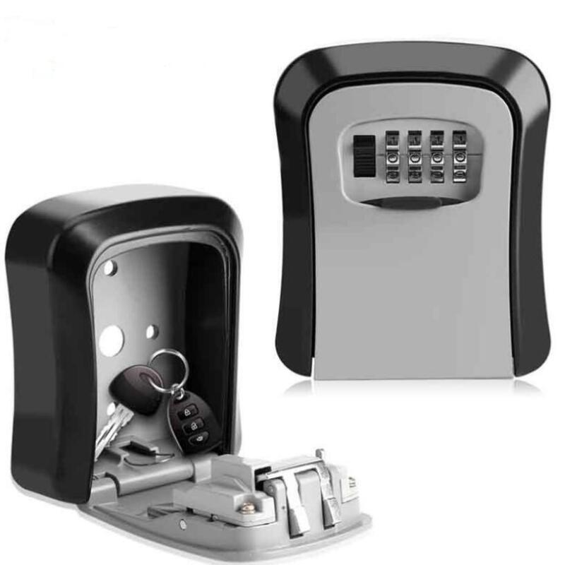 Key Safe Box Outdoor Digit Wall Mount Combination Password Lock Aluminum Alloy Material Keys Storage Box Security Safes