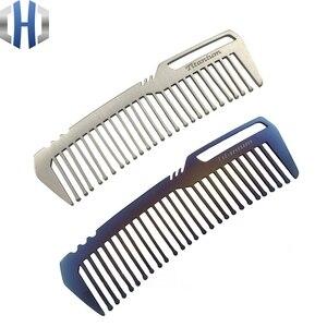 Image 5 - Titanyum tarak erkekler ve kadınlar için tarak saç kesme tarağı EDC