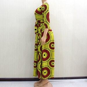 Image 4 - 2020 アフリカ Dashiki エレガントなパーティー V ネック女性春現代女性のドレスフィットとフレア固体ナチュラルウエストドレス