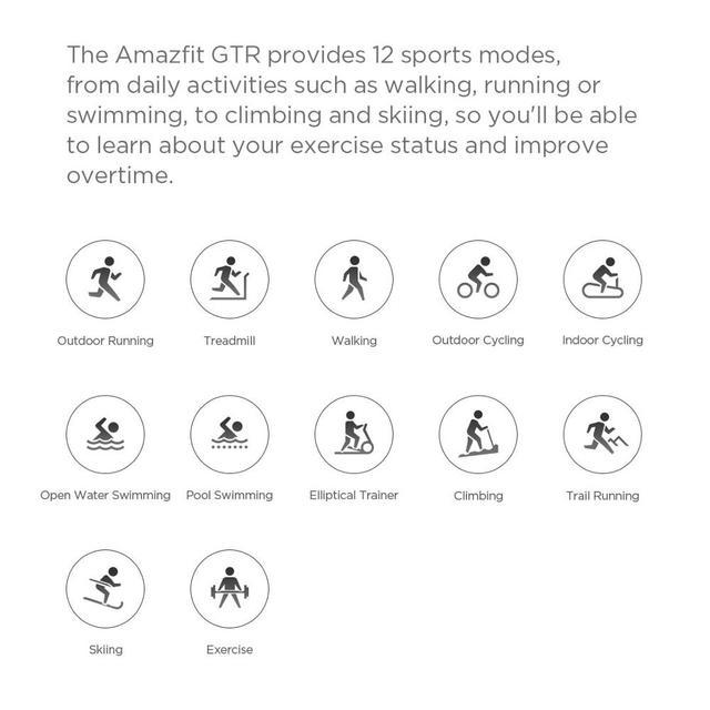 International version Amazfit GTR Smart Watch 5ATM Waterproof 47mm 24 Days Battery GPS Music Control with strava- Balck/Sliver