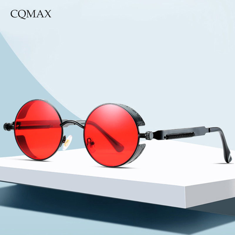 CQMAX Round SteamPunk SunGlasses Retro Circular Metal Frame Reflective Colorful Ladies Vintage Sun Glasses Men Oculos UV400