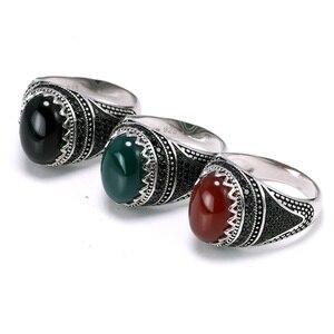 Image 2 - Garantili % 925 gümüş yüzük taç Retro Vintage erkekler için türk yüzükler doğal taşlar ile siyah yeşil kırmızı renk Ringen
