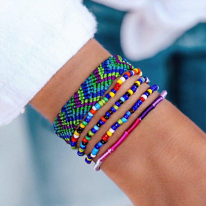 5pcs/set Bohemian Thread Bracelet Bead Handmade Boho Multicolor String Cord Woven Braided Hippie Friendship Bracelets Women Men