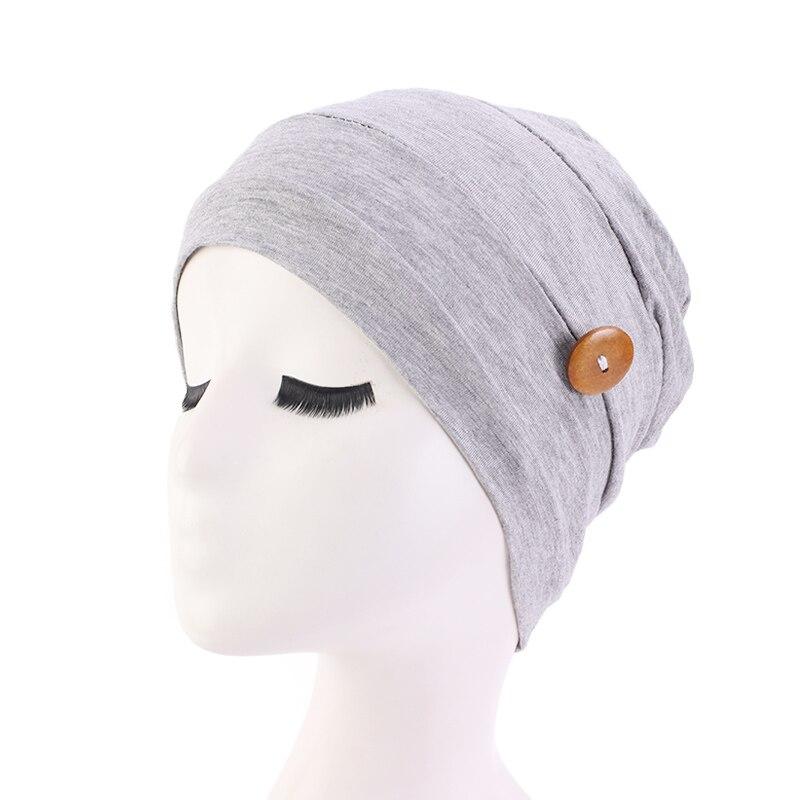 Chapéu de algodão macio com botão para usar proteção de orelha chapéu turbante boné de sono feminino senhoras headwear
