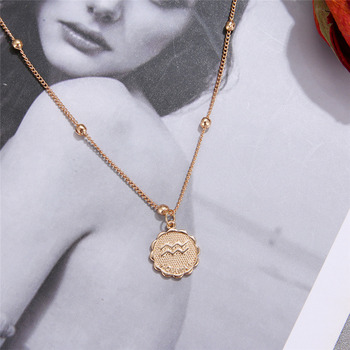 12 Constellations Coin Pendants Necklace Gold Zodiac Sign Aries Leo Necklace Women Jewelry Twelve Horoscope Clavicle Necklace 3