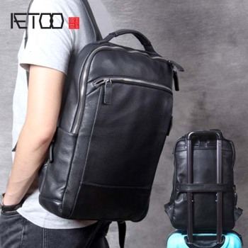 AETOO Simple casual leather shoulder bag, men's handmade head leather travel backpack, computer bag woman aetoo original shoulder bag leather retro backpack business computer bag head layer leather travel male bag college wind