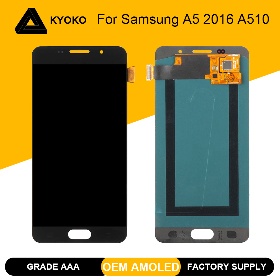 100% Tested <font><b>A510</b></font> AMOLED <font><b>LCD</b></font> For <font><b>Samsung</b></font> <font><b>Galaxy</b></font> A5 2016 A510F A510M A510FD A5100 <font><b>LCD</b></font> Display Touch Screen Digitizer Replacement image