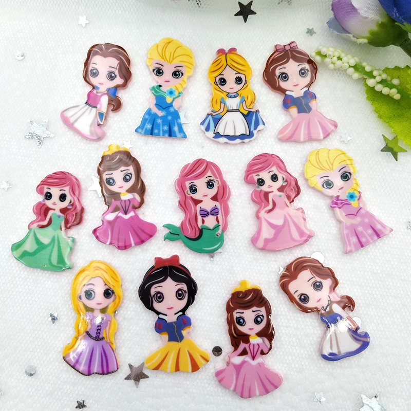 10pcs/lot Kawaii Acrylic Cuteprincess Flatback Cabochons For Hair Bow Centers DIY Scrapbooking Decor B90