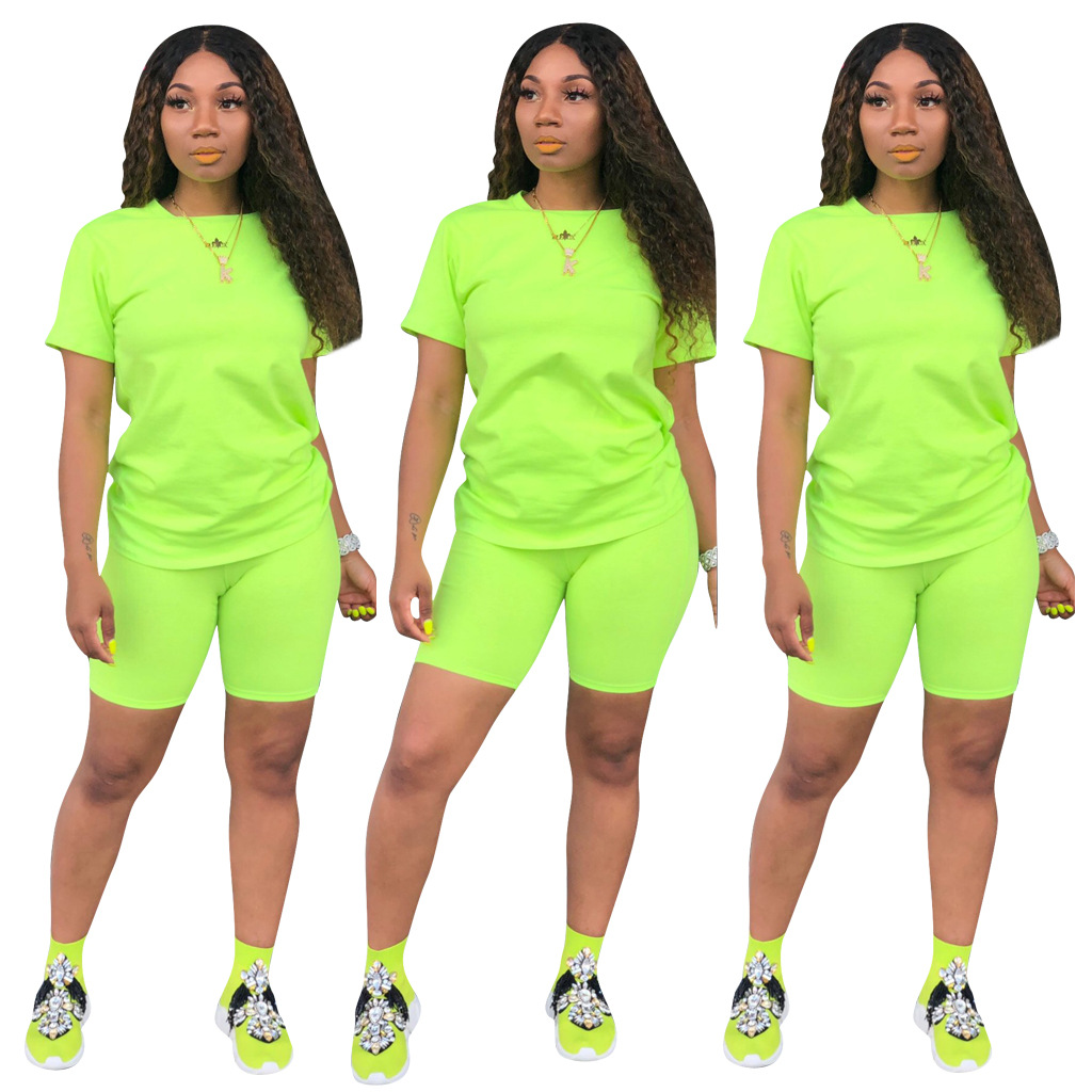 Image 3 - HAOYUAN 2 Piece Set Women Tracksuit Festival Clothing Neon Crop Top and Biker Shorts Sexy Club Outfits Two Piece Matching Sets-in Women's Sets from Women's Clothing