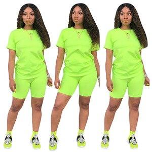 Image 3 - HAOYUAN 2 Stück Set Frauen Trainingsanzug Festival Kleidung Neon Crop Top und Biker Shorts Sexy Club Outfits Zwei Stück Passenden sets