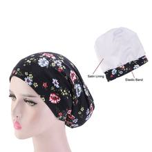 Lady Flower Printed Muslim Turban Sleeping Cap Cotton And Satin Bonnet Night Head Cover Hair Loss Cap With Elastic Band(China)