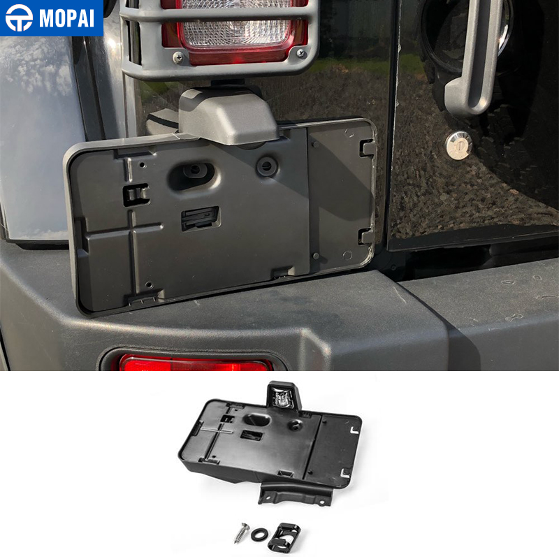 MOPAI License Plate for Jeep Wrangler JK 2007 Up Car Rear License Plate Mounted Part Screws Bottle Opener Decoration Car Styling