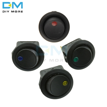 12V LED Dot Light Car Switch Auto Boat Round Rocker 3Pin ON/OFF Toggle SPST Switch 4 Colors Blue Yellow Red Green Color image
