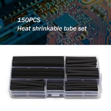 150 pcs/lot Black Heat Shrink Tubing 2:1 Black Tube Car Cable Sleeving Assortment Wrap Wire Kit with Polyolefin Tub(China)