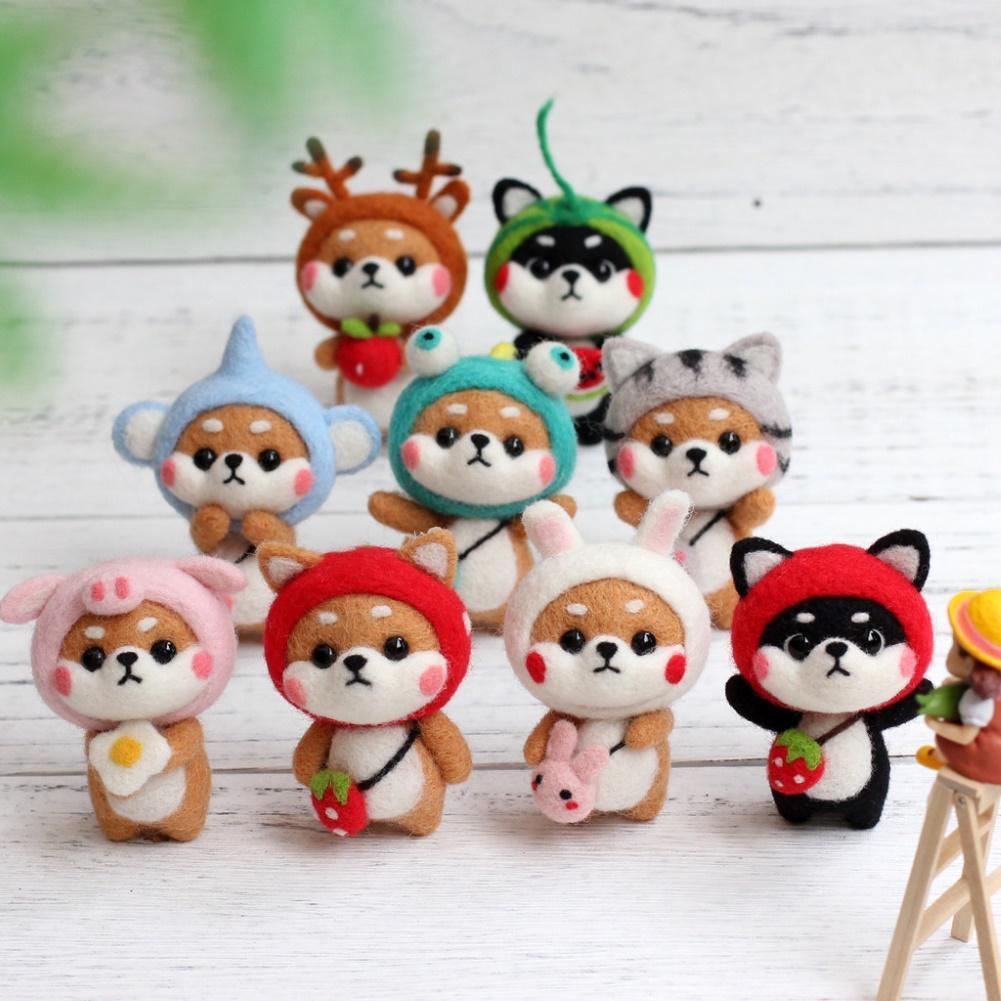 Cute Handmade Wool Felt Pets Toy Doll doll Wool Felt Needle Poked Kitting DIY Animal Popular Toy Package Home decoration