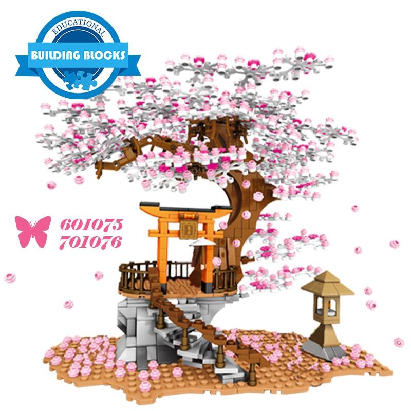Новый город ночной тек Вид из окна идея Sakura Инари блоки, друзья вишня в цвету Creator домик Дерево Строительные блоки подарки