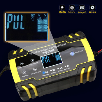 12V-24V 8A Full Automatic Car Battery Charger Pulse Repair Wet Dry Lead Acid Battery-chargers Intelligent Digital LCD Display 12v 8a lcd display battery charger pulse repair for car motorcycle wet lead acid