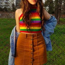 Women Summer Sexy Sleeveless Mini Crop Top Halter Thread Ribbed Knit Bodycon Camisole Rainbow Stripes Racerback Beach Party Vest knit ribbed racerback tank