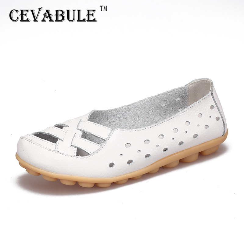 CEVABULE Summer Flat Bottom Non-slip Middle-aged Old Sandals Hollow Mother Shoes Women's Sandals Oxford Shoes For Women CQY-1166