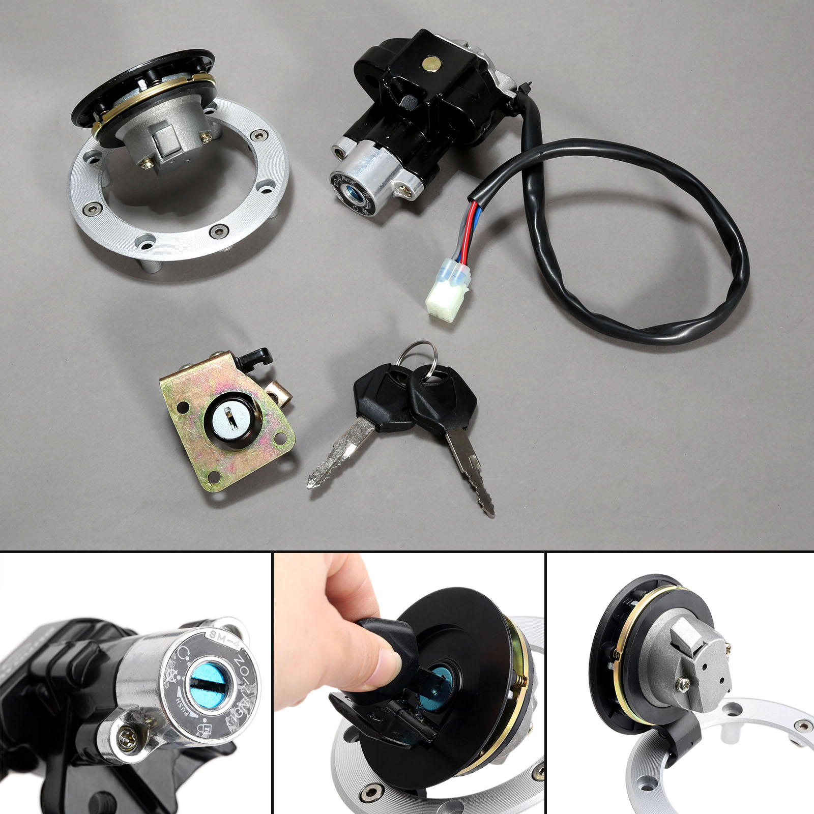Motorcycle Ignition Switch Kit Assembly Fuel Gas Cap Tank Cover Seat Lock Key Set For Suzuki GSX600 GSXR750 TL1000R TL1000S