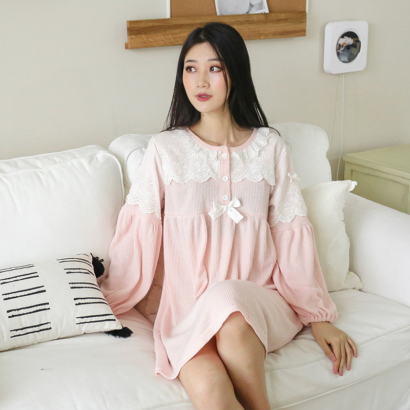 Autumn And Winter Ladies Korean Version Of The New Lace Long-Sleeved Knit Dress Loose Sexy Nightdress Female Home Servic