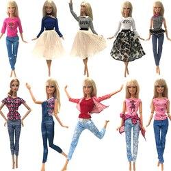 NK/горячая распродажа, 1 х Кукольное платье, наряд для девочек, праздничная одежда ручной работы, топ, модная юбка для куклы Барби, детские игр...