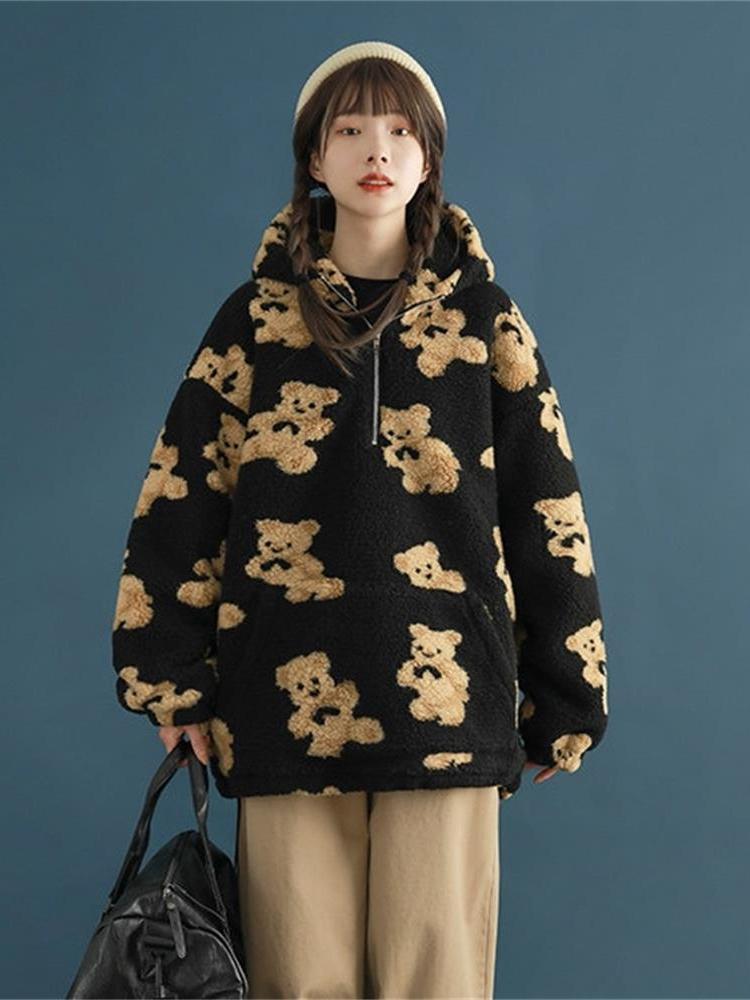 Lambswool Jacket Coat Outwear Cardigan-Coats Hooded Harajuku Zipper Bear-Print Autumn