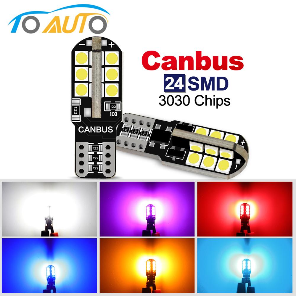 2pcs T10 W5W Led Bulb 24SMD 3030 Chips Canbus Error Free 194 168 Led Lamp Car Interior Reading Light Super Bright 6000K White