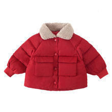 Autumn Winter Kids Girls Jackets Outwear Warm Coats Fur Collar Thick Cotton Jacket Coat Girls Warm Snowsuit Outerwear Clothes(China)