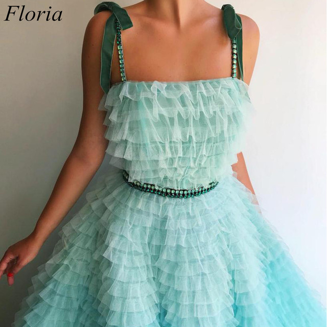 New Arrival Mint Green Prom Dresses Spaghetti Sexy Summer Beach Evening Dresses 2019 Tiered Celebrity Gowns With Sashes Pregnant 3