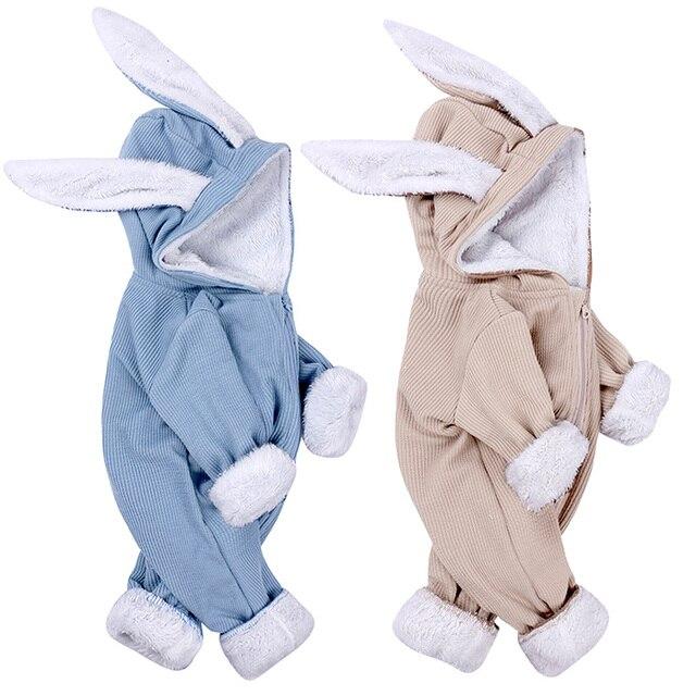 חורף תינוק Romper יילוד ילד ילדה סרבל תינוקות תלבושות חם פעוט בגדי סרבל חמוד ארנב תלבושות עבור 0 18 חודשים