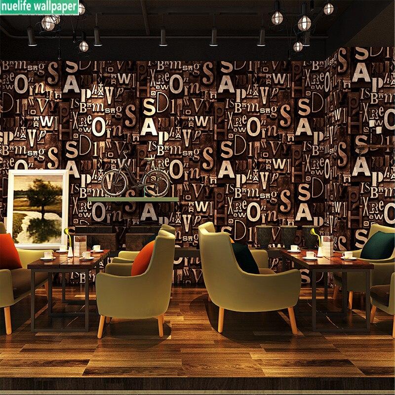 Personnalité 3d anglais alphabet papier peint salon bar café vêtements salon de coiffure studio fond enfants chambre papier peint