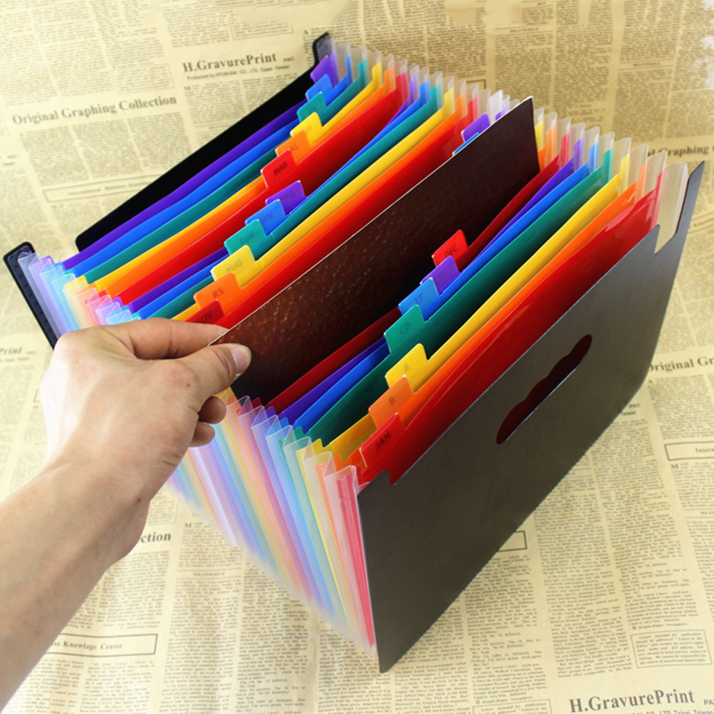 Expanding A4 File Folder Rainbow Colored Tags Accordion Document Organizer