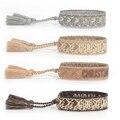 Плетеный браслет дружбы для женщин и мужчин, плетеные браслеты из веревки, браслет с вышивкой и кисточкой, летние ювелирные изделия