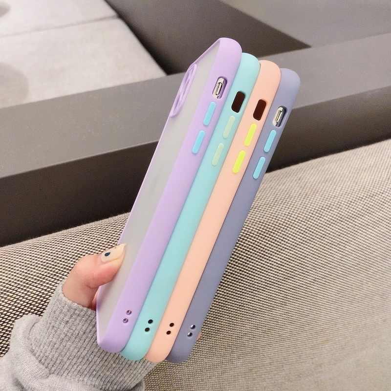 حافظة لهاتف آيفون 11 برو ماكس X XR XS Max 7 8Plus إطار ألوان متباين فاخر غير لامع صلب حماية لهاتف آيفون SE 2 2020