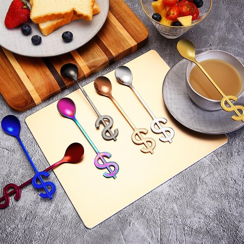 Small Mini Stainless Steel Leaves Coffee Spoon String Spoon Teaspoon Tea Spoon Dessert Spoon Long Handle Tableware