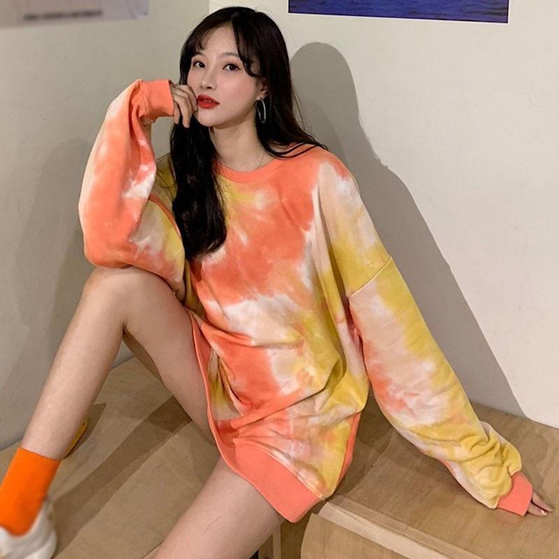 Women Autumn Fashion Tye Dye Shirt Colorful Hoodies Pullover Sweatshirts Tops Loose Comfortable Long-sleeve Shirts Newest 4