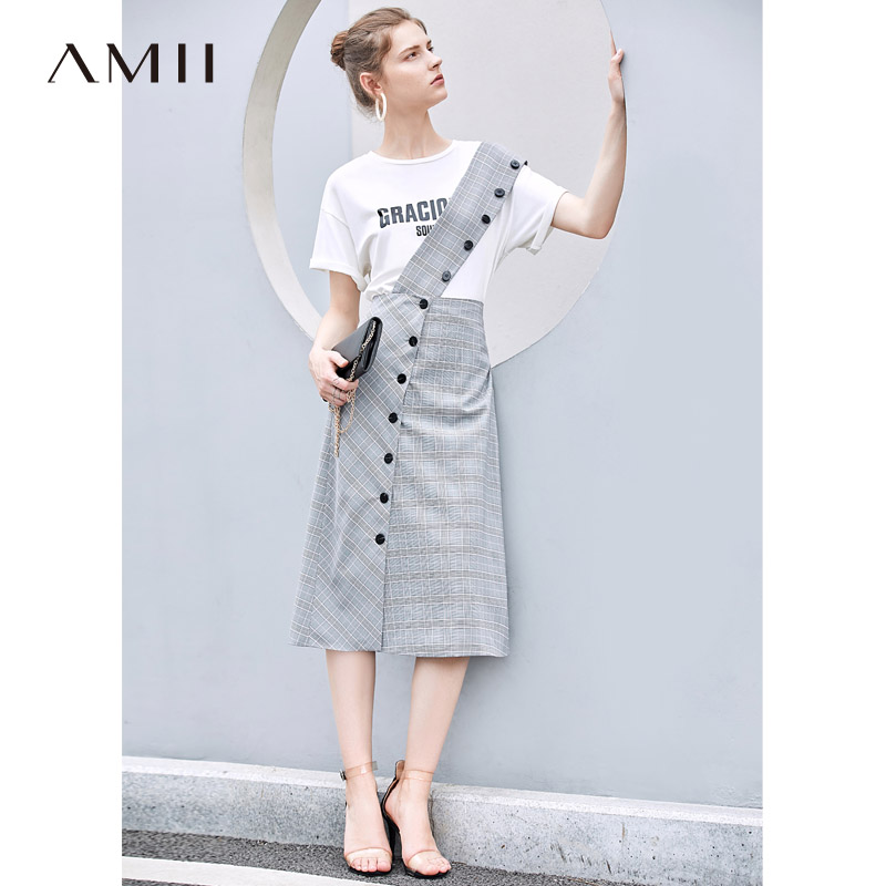 Amii Minimalist Plaid Skirt Summer Women Casual Detachable Shoulder Strap Retro Female Mid-long Skirt 11940221