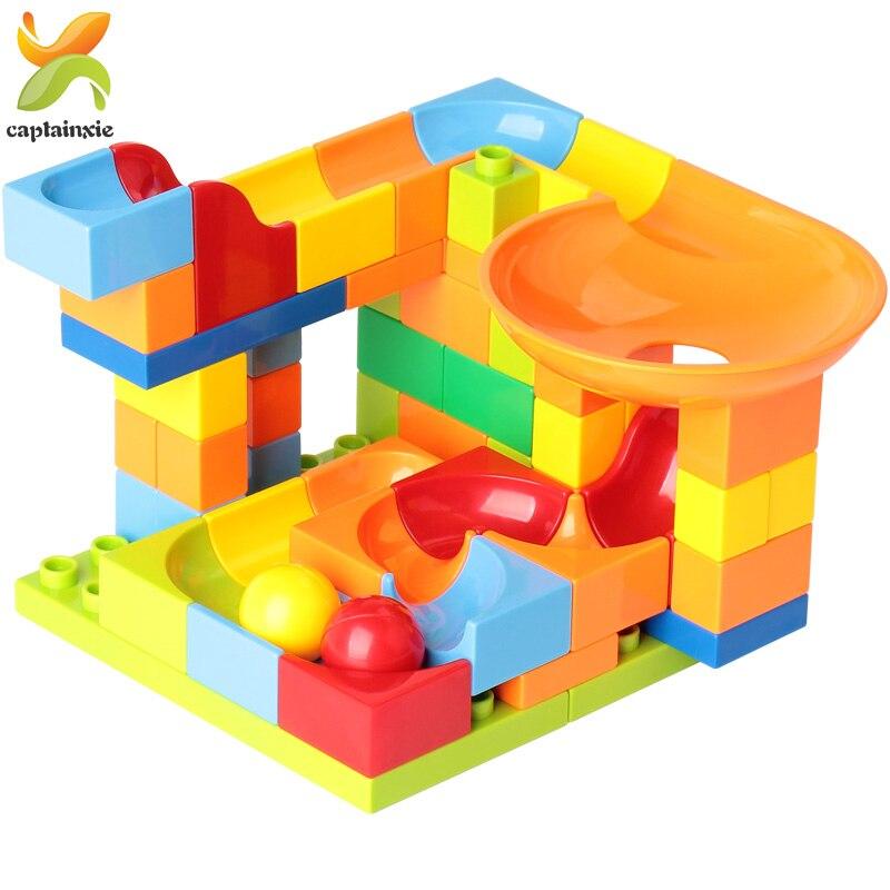 52PCS Big Size Marble Race Run Maze Ball Track Building Blocks Compatible Legoingly Duploed Funnel Slide DIY Bricks Children Toy