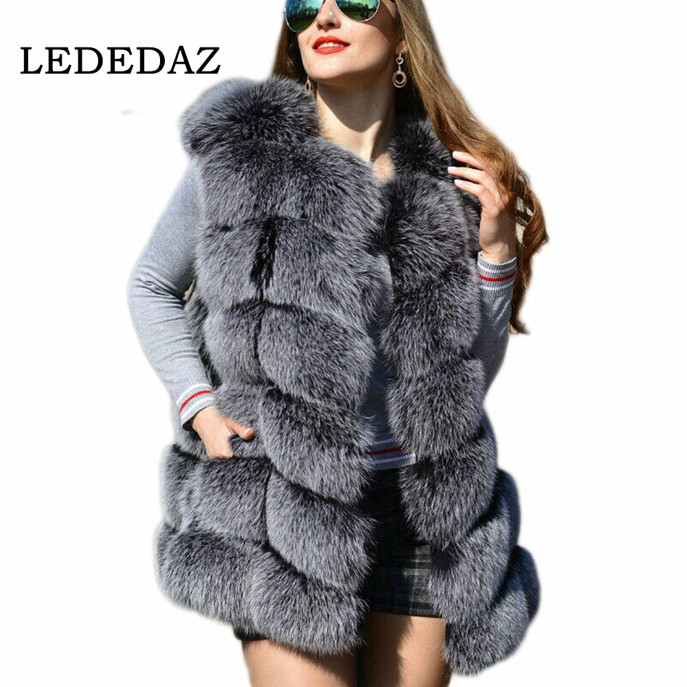 S-3XL Women High Quality Fur Vest Faux Fox Fur Coat 2019 Fashion Furry Fur Coat Warm Long Autumn Winter Fake Fur Jacket Overcoat