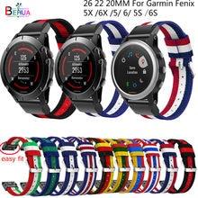 Easyfit – bracelet de montre en Nylon à dégagement rapide, 26 22 20MM, pour Garmin Fenix 5X 5 5s Plus / Fenix 6x6 6S/Fenix 3 3h